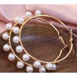 Обеци - халки с перли